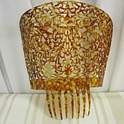Large Antique Tortoise Celluloid Peineta Mantilla Comb