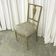 Antique Sheraton Style Vanity Chair w Draped Urn Splat & New Upholstered Seat