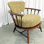 Vintage Side Chair Mid-Century Modern Style w Windsor Influence Deep Cushion