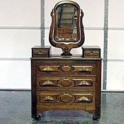 REDUCED Antique Victorian Walnut Chiffonier Dresser w Mirror