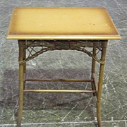Rectangular Wood and Wicker Side Table Art Deco Style