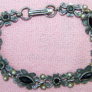 Vintage Florenza Silvertone Flower Bracelet pre 1955