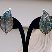 Sterling Silver Abalone Leaf Screw Back Earrings Made in Mexico
