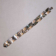 Taxco Modernist Abalone Paua Sterling Silver Chevron Bracelet Made in Mexico