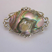 Sterling Silver Abalone Mabe Blister Pearl Pin Brooch