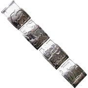 Mexican Sterling Silver Panel Bracelet  Diaz Santoyo