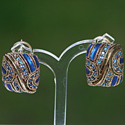 Enamel Rhinestone Goldtone Pierced Earrings Jewel Blue Persian