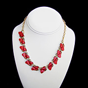 Coro 1950's Red Hearts Thermoplastic Goldtone Choker Necklace Vintage