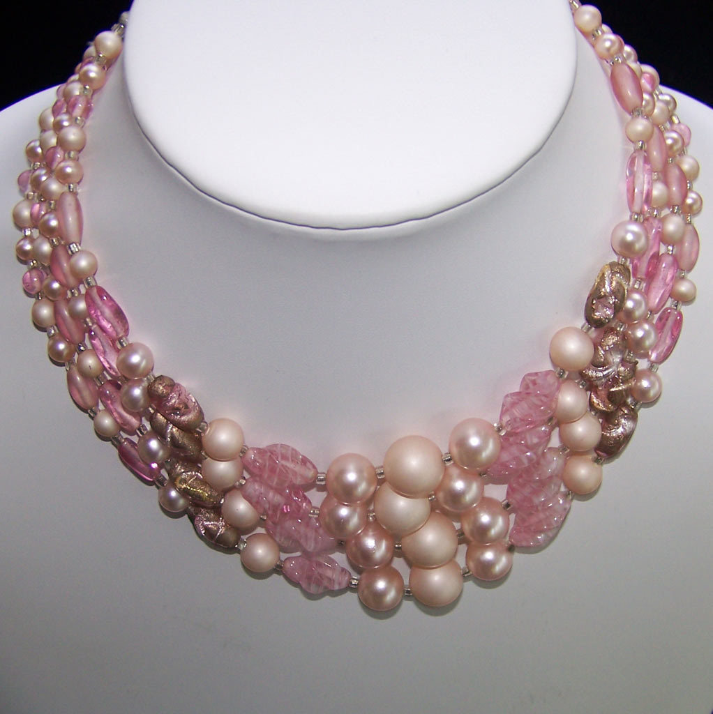 vintage pink glass bead 4 strand necklace japan from