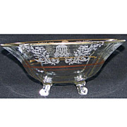 Paden City Gazebo Footed Fruit Bowl with Gold Trim