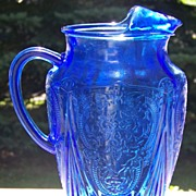 Rare Cobalt Blue Royal Lace Depression Glass 96 oz. Ice Lip Pitcher