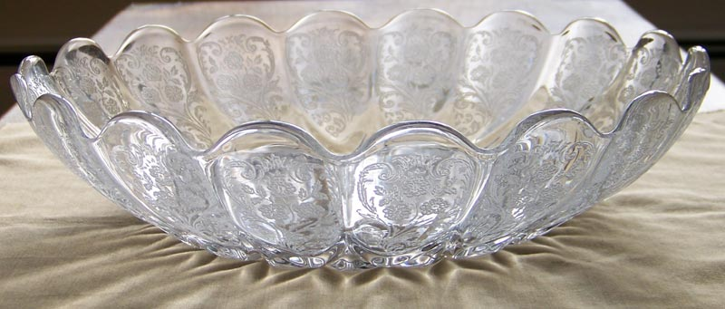"New Martinsville Canterbury Etch 12"" Cupped Glass Bowl"