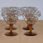 4 Tiffin 15071 Optic Champagne Sherbet Goblets Amber Stems