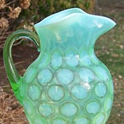 Large Fenton No. 1353 Green Opalescent Coin Dot Optic Pitcher