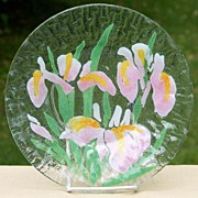 Sydenstricker Art Glass Floral Plate  - Pink and Yellow Irises - 5 Available