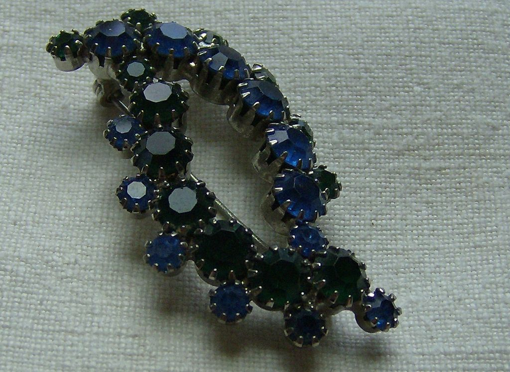 Vivid Blue and Green Foil Back Rhinestone Brooch