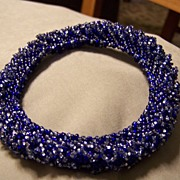 SALE Handmade Seed Bead Bangle Bracelet all in Blues