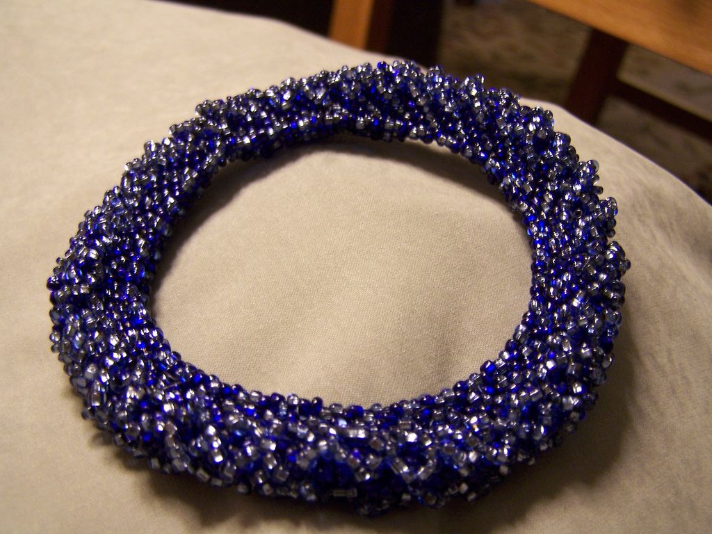 Handmade Seed Bead Bangle Bracelet all in Blues