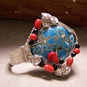 SALE Sterling Silver One of a Kind Hand Made Woven Wire Cuff Bracelet with Coral and Painted C