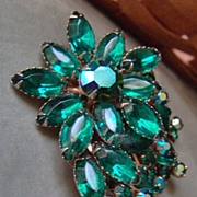 SALE Emerald Green and Aurora Borealis Multi Layer Rhinestone Brooch