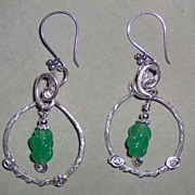 SALE One of a Kind Handmade Sterling Silver Green Antique Bead Pierced Earrings