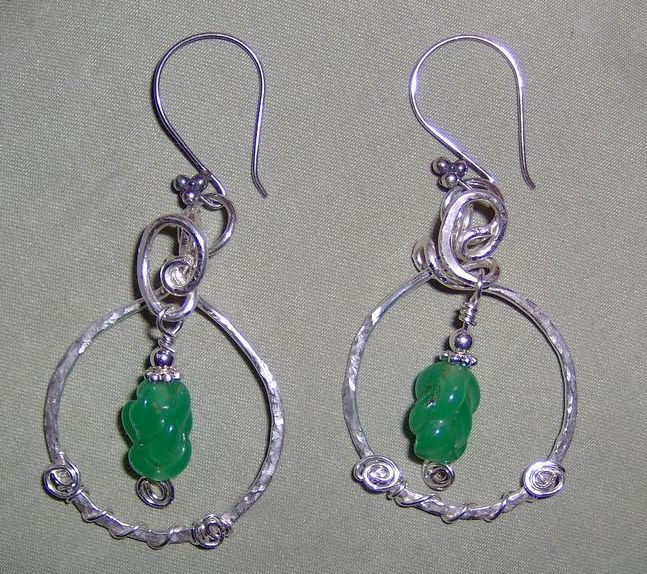 One of a Kind Handmade Sterling Silver Green Antique Bead Pierced Earrings