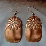 "SALE Large Brass Flower and Fluted Earrings with 3"" Drop"
