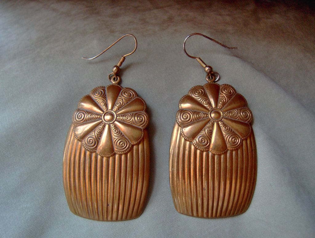 "Large Brass Flower and Fluted Earrings with 3"" Drop"