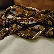 SALE OOAK Handmade Seed Bead Woven Gold and Brown Bracelet