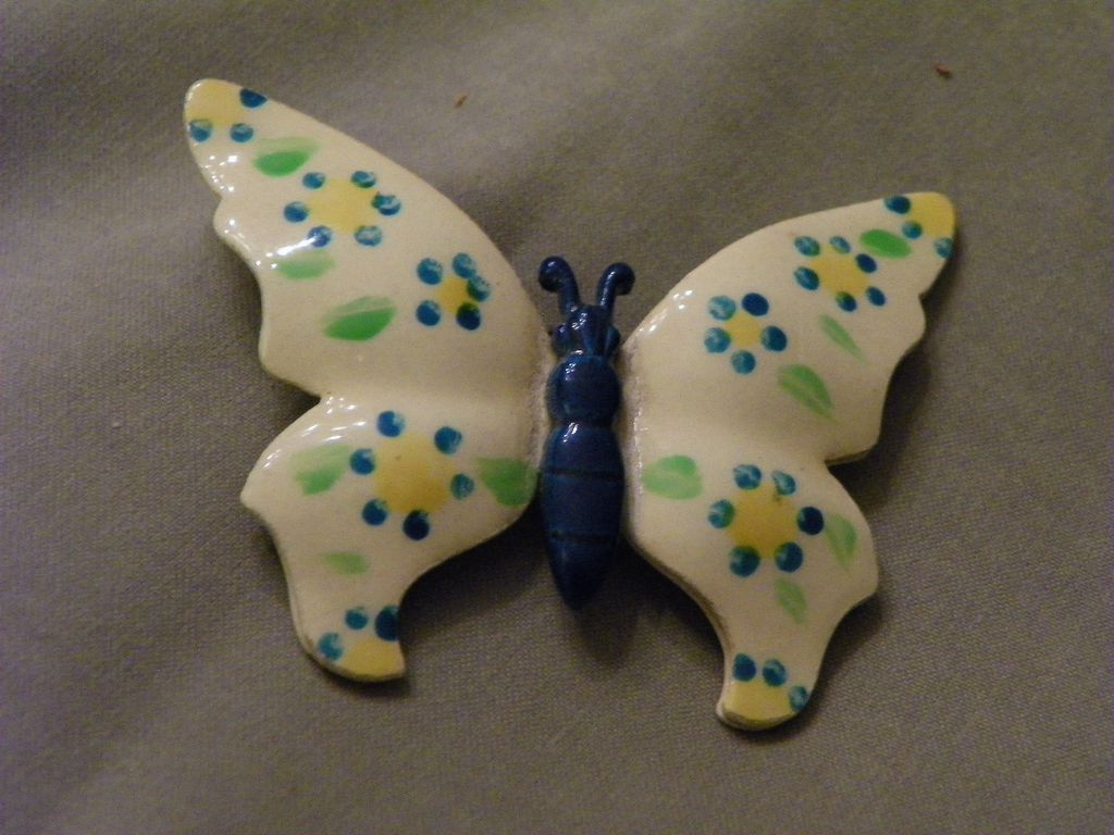 Vintage Enamel Hand Painted West Germany Butterfly Brooch