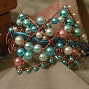 SALE OOAK Size Large Wire Wrapped Bracelet with Pearls in Pink, Greens and Blue