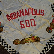 SALE Indianapolis 500 Racing 1950's Souvenir Scarf with Cars and Flags