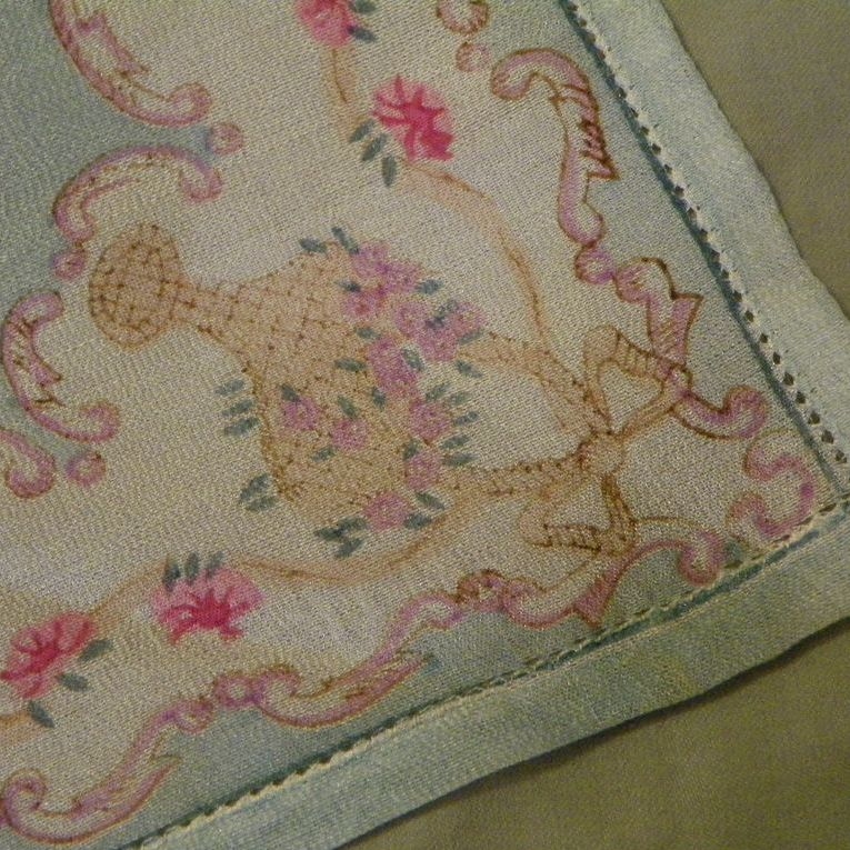Sheer Aqua Silk Hankie with Baskets of Roses and Drawnthread Hem