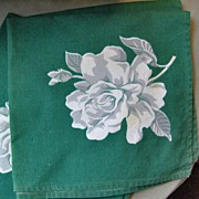 SALE 4 Green Cotton Napkins with White Roses and Gray Shadowing 1950's