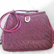 SALE Bell Group 1960's Burgandy Leather with Basket Weave Design