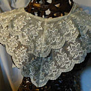"SALE Vintage Net Lace Collar with Embroidery Layered  Scalloped 44"" long"