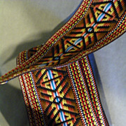 SALE Wide Vintage Woven and Embroidered Sewing Trim 1960's 1970's Tribal