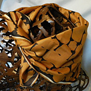 SALE Vintage Mod VERA NEUMANN SCARF Caramel and Brown with White Outline 60'S RETRO