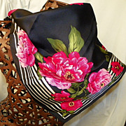 SALE Vintage Talbots 100% Silk Scarf Pink Flowers on a Black background