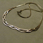 SALE 1970's Sterling silver herringbone Chain with Braided Front