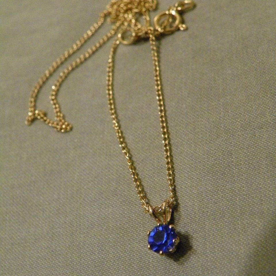 1970's Vintage B. David 14k Gold Filled Chain and Blue Stone Necklace