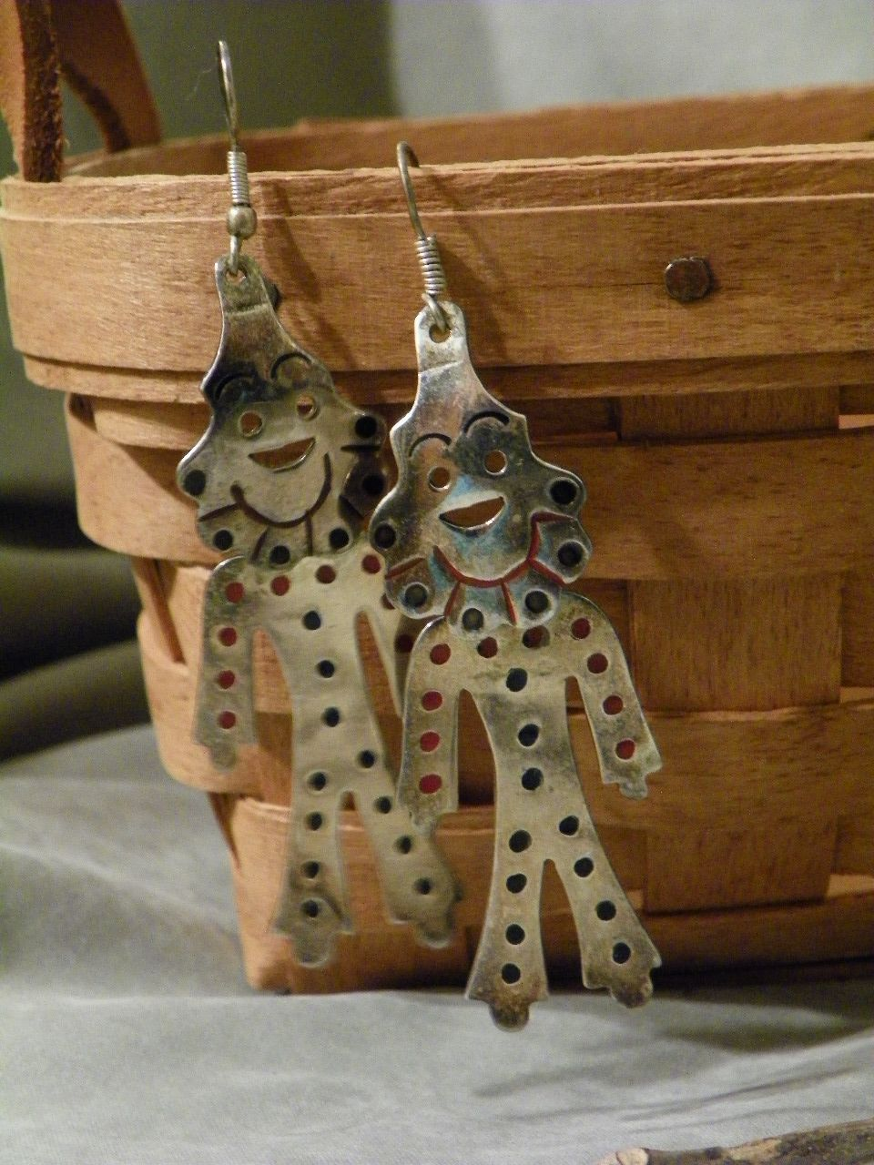 Vintage Alpaca Mexico Figural Clown Pierced Earrings