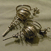 SALE Vintage Sterling Silver Orbit or Cyclone Ball earrings