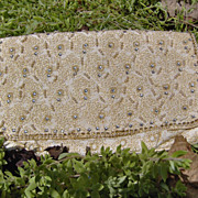 SALE Vintage 1950's Clutch Handbag with Rhinestones and Pearls on Silk with Gold Embroidery