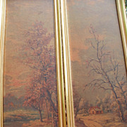 SALE Pair of Landscape Tall Prints Signed C. Regan Gilt Frame