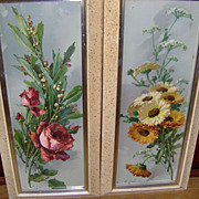 Signed Pair of 1950's Tall Prints Roses and Daisies under Glass