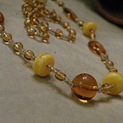 SALE 1920's Vintage Handmade Glass Bead Necklace