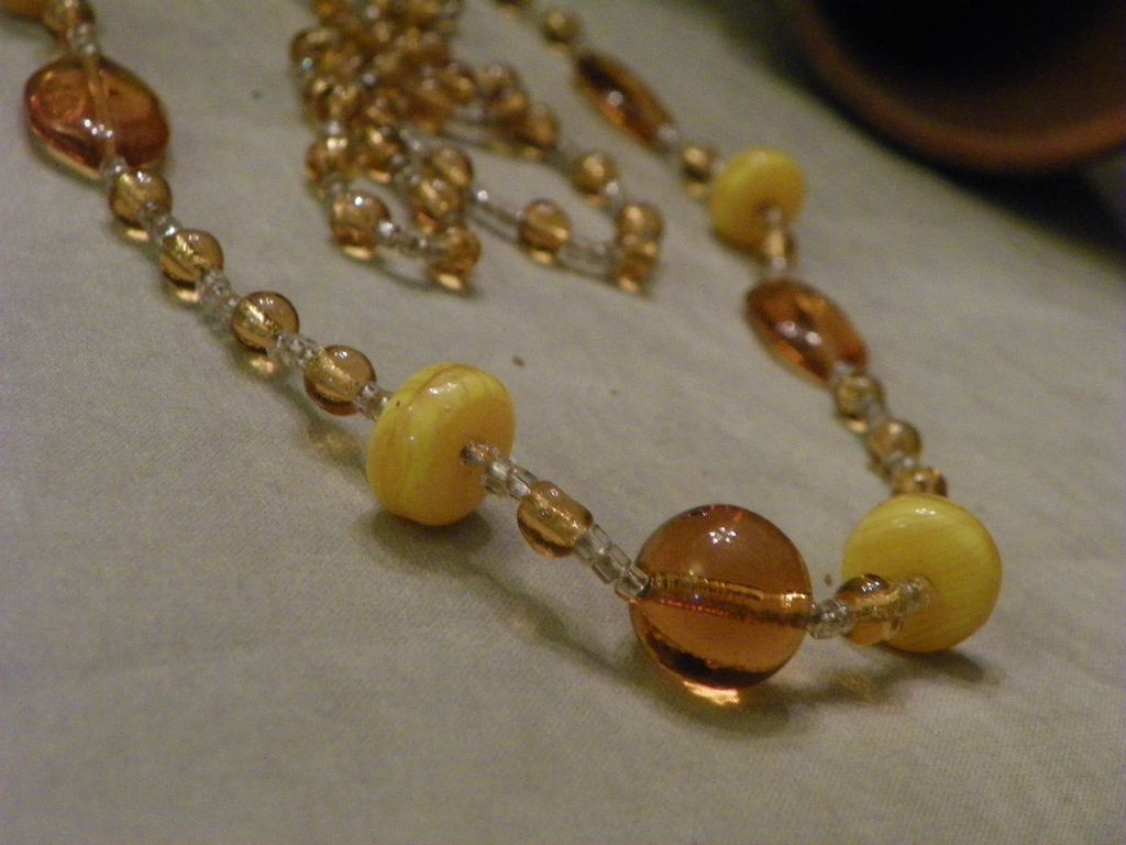 1920's Vintage Handmade Glass Bead Necklace