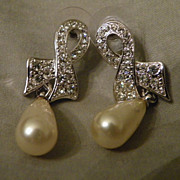 SALE Vintage Crystal Rhinestones and Drop Faux Pearls Pierced Earrings
