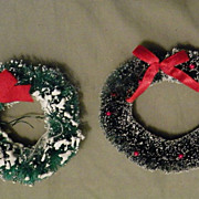 SALE Vintage Christmas Bottle Brush Wreath with Snow
